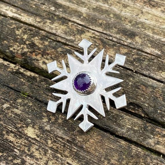 Snowflake Sterling Silver Amethyst Brooch