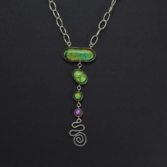 Radiant Green & Purple Five Piece Drop Necklace