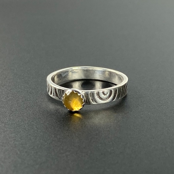 Golden Citrine Swirl Stacker Ring