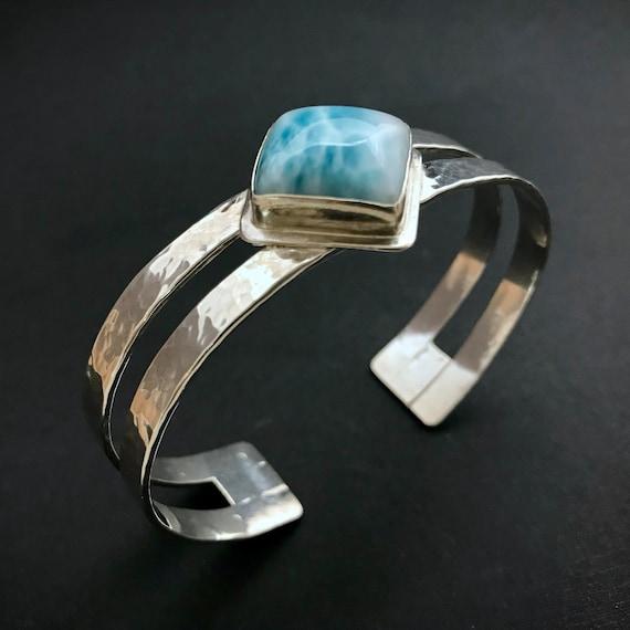 Laimar Double Banded Hammered Silver Bracelet