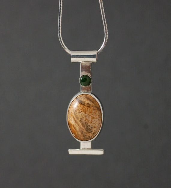 Agate and Jade Pendant
