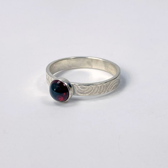 Garnet With Swirl Stacker Ring