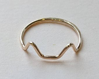 Cat ear ring, dainty gold filled or sterling silver stacking ring