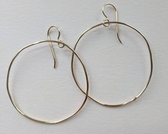 Not quite circular large gold filled hoops