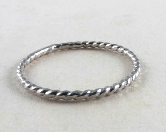 Sterling silver twist ring, silver band rope stacking ring