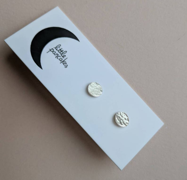 Tiny hammered dot stud earrings sterling silver image 0
