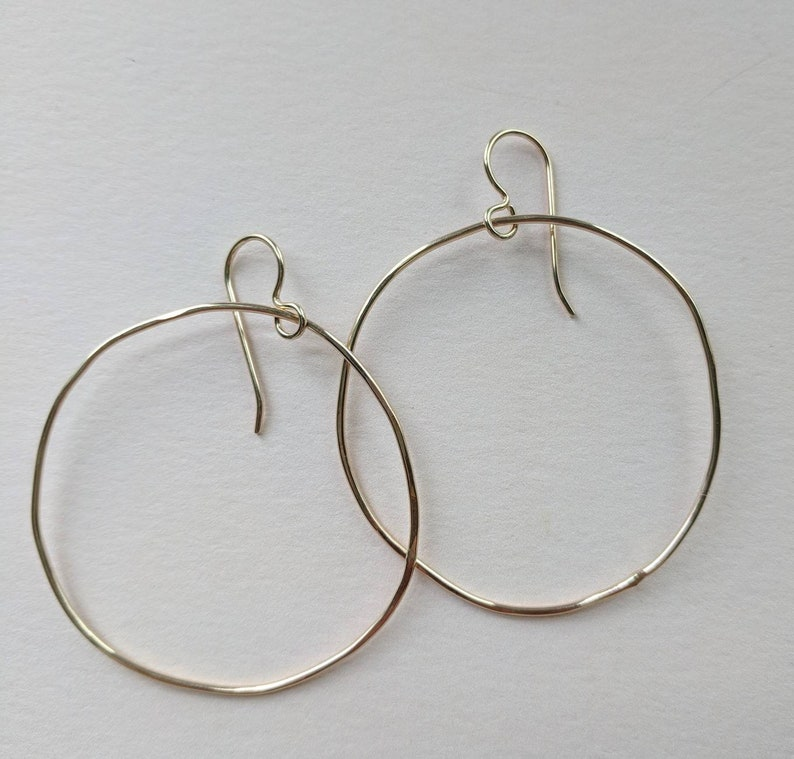 Not quite circular large gold filled hoops image 0
