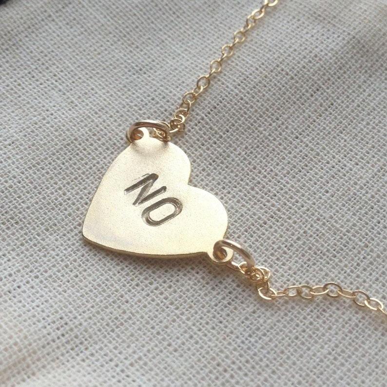 Stamped heart necklace no heart necklace on thin gold filled image 0
