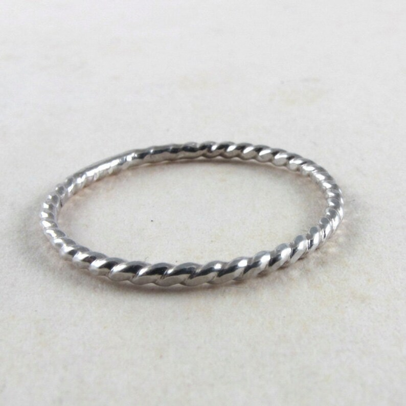 Sterling silver twist ring silver band rope stacking ring image 0