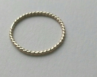 Gold filled twist rings, stacking rings rope pattern