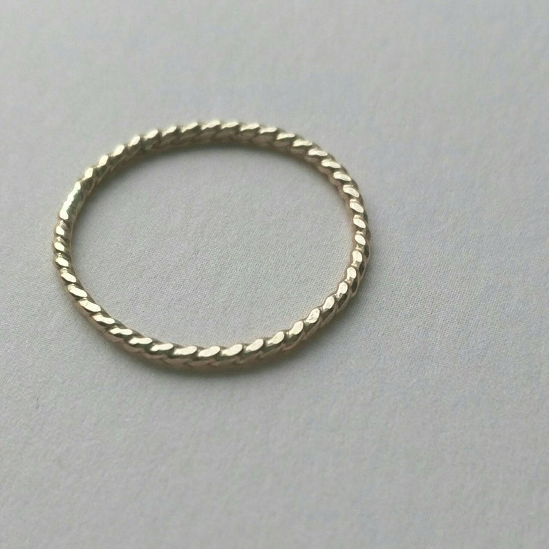 Gold filled twist rings stacking rings rope pattern image 0
