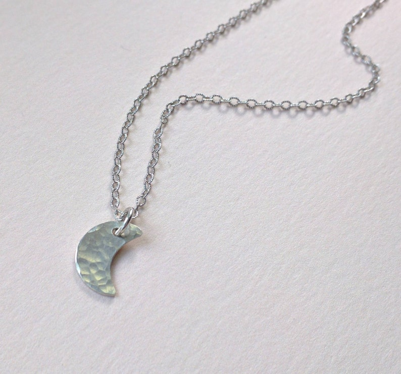 Little crescent moon necklace sterling silver hammered moon image 0