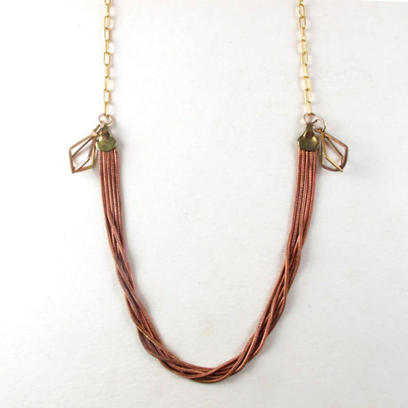 Copper chain and brass diamonds necklace Vintage findings image 0