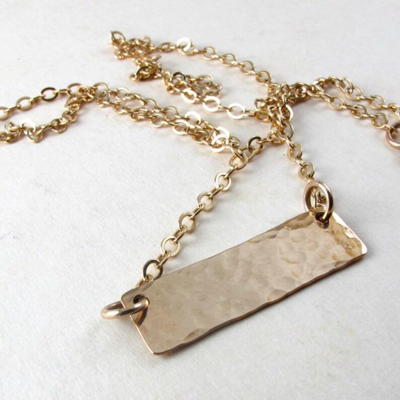 Hammered gold bar necklace Gold filled bar on gold filled image 0