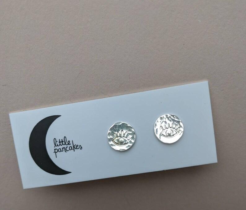 Eye stud earrings sterling silver dots image 0