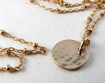 Hammered gold filled dot necklace, little dot necklace on beaded chain