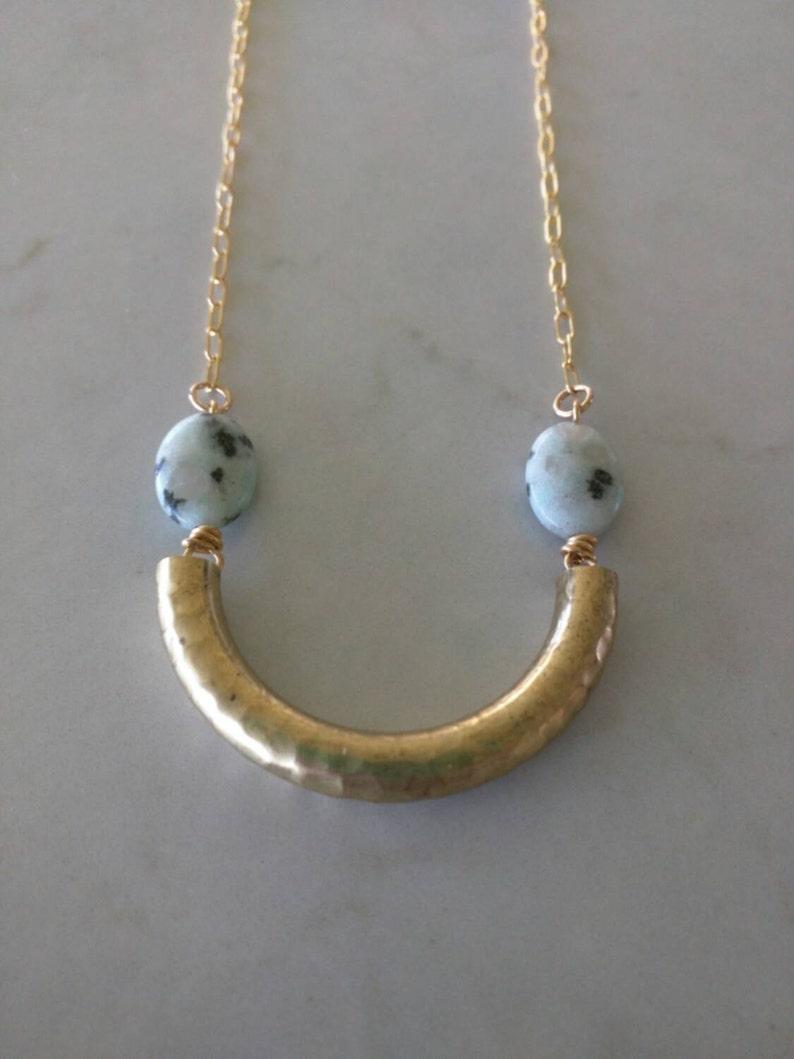 Dalmatian jasper and brass macaroni necklace image 0