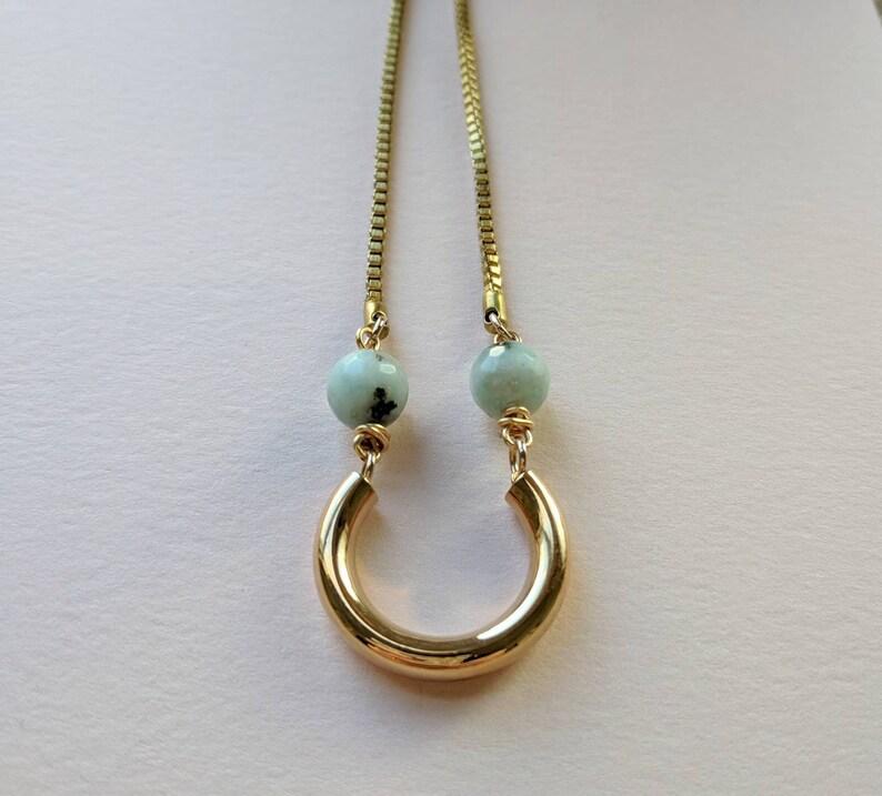 Jasper curve necklace on long brass chain image 0
