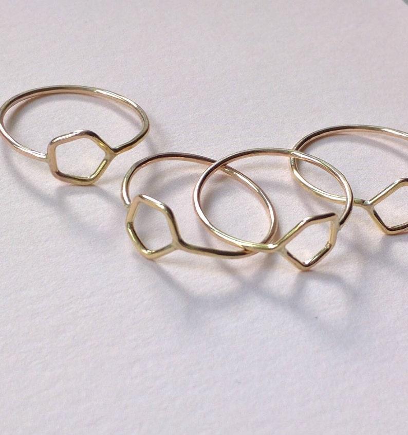 Gold filled pentagon ring gold hexagon ring image 0