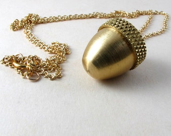 Secret Compartment Necklace, Acorn canister locket necklace with urn or stash container