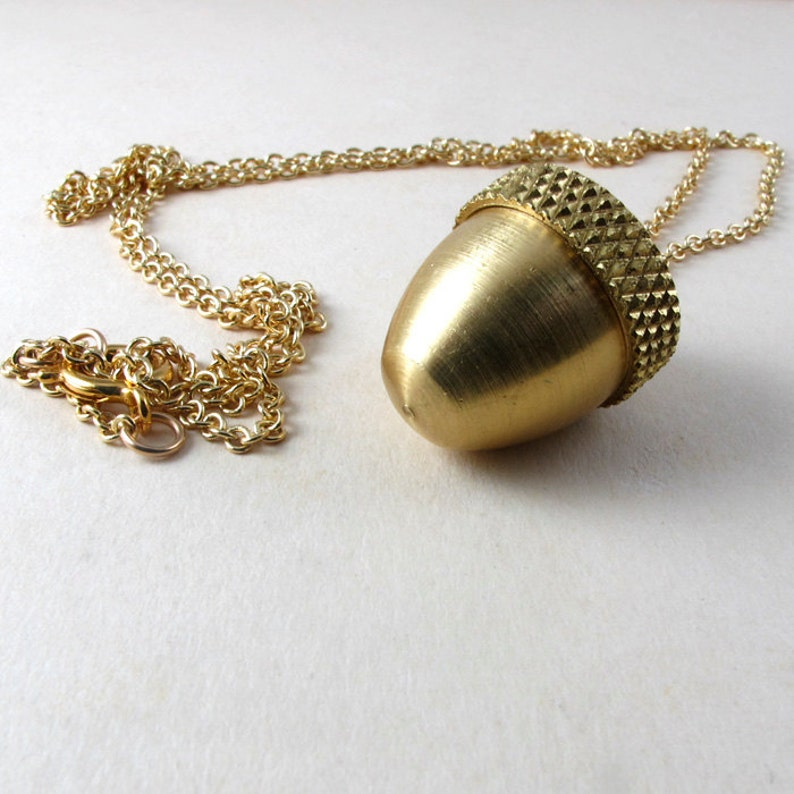 Secret Compartment Necklace Acorn canister locket necklace image 0