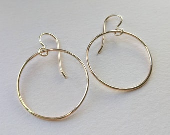 Medium gold filled hoops, lightweight earrings