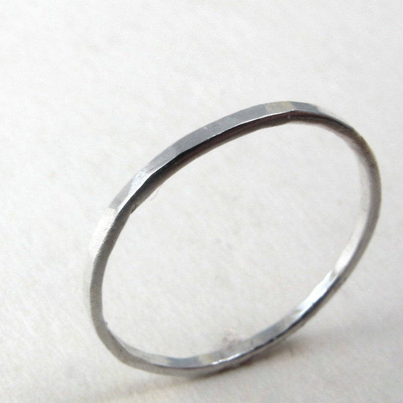ONE Thin sterling silver ring hammered texture in custom size image 0