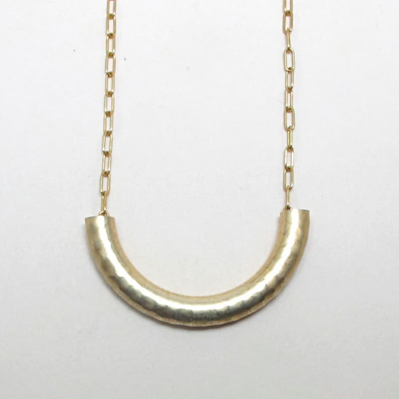 Textured brass tube necklace macaroni necklace on gold plated image 0