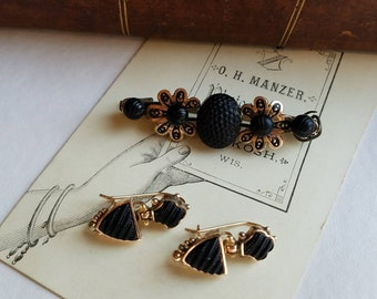 Victorian GF Black Crepe Stone Mourning Earrings plus Victorian Crepe Stone Brooch Original Jewelry Box