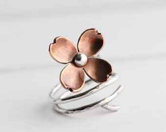 Dogwood Flower Adjustable Branch Ring, Twig ring, Copper and silver, Gifts for her, Spring Jewelry