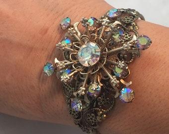 Vintage AB Rhinestone Brooch repurposed bracelet