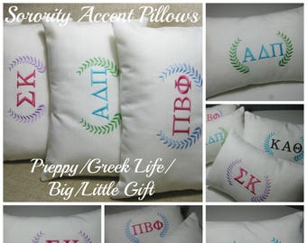 "Monogrammed Sorority Pillow with INSERT Lumbar 8""x12""/ Big Little Gift/Sorority Gift/Preppy"