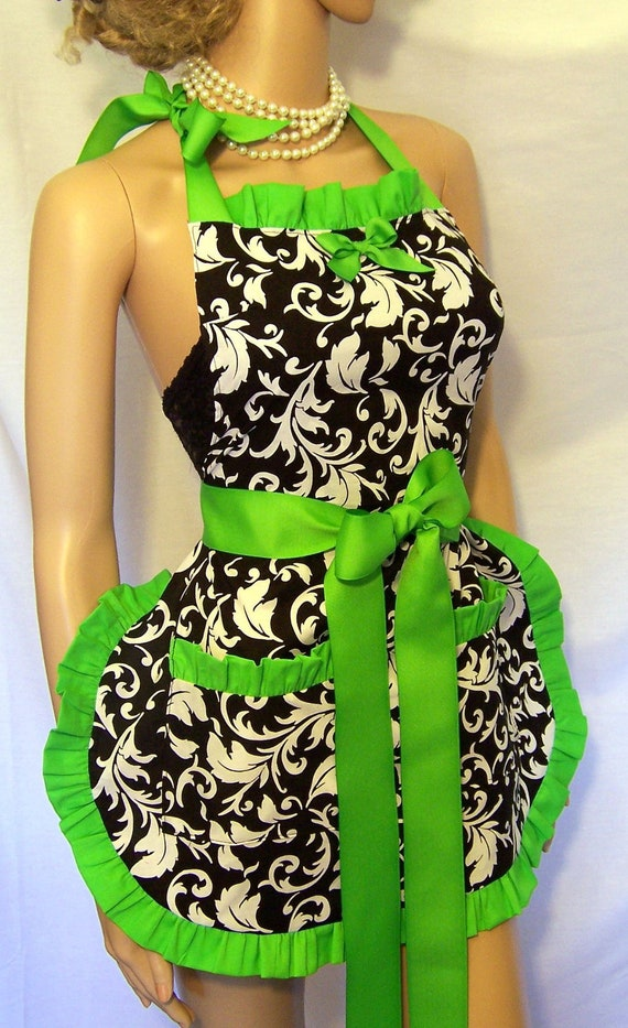 hoestess apron black and white all colors scotch guarded