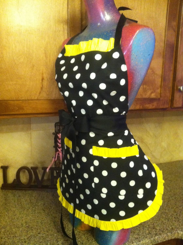 retro apron polka dot apron pin up apron pick your color trim