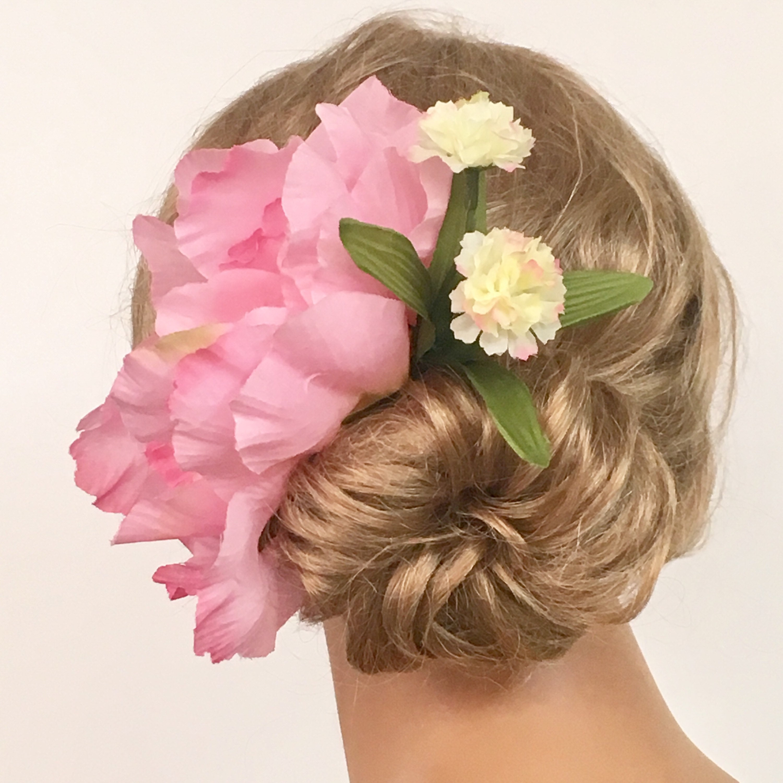Bun Wreath Hair Flower Wreath Pink Flower Wreath Bun Holder