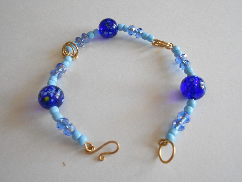 Jewelry Set Blue Beads Bracelet Blue Beads Earrings Blue Glass Beads Blue China Crystals Wired Bracelet Hand Wired