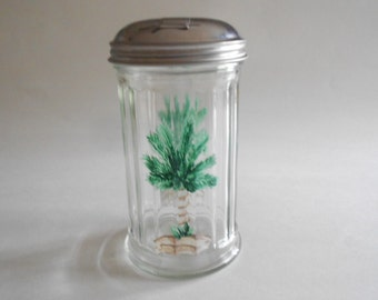 Palm Trees Sugar Pourer Sugar Jar Sugar Dispenser Sugar Shaker Hand Painted Bottle Clear Glass Palm Trees Kitchen