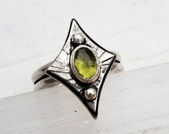 SIZE 9.25 Faceted Vesuvianite Ring in Sterling Silver
