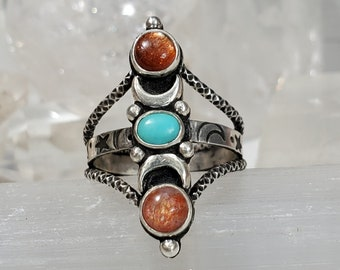 SIZE 10.75/11 Sunstone and Arizona Turquoise Ring in Sterling Silver
