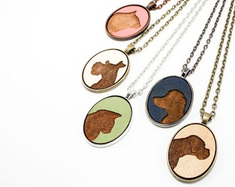 Pet Portrait Pendant - Custom Animal Silhouette Laser Engraved in Wood Cameo Necklace - Christmas Gift Idea (Choose Your Color)