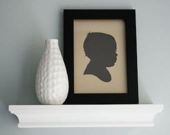Personalized Papercut Portrait, Custom Children's Silhouette (choose size & color) Mother's Day Gift Idea