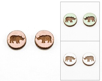 Rhino Stud Earrings - Laser Cut Wooden Studs (Choose Your Color)