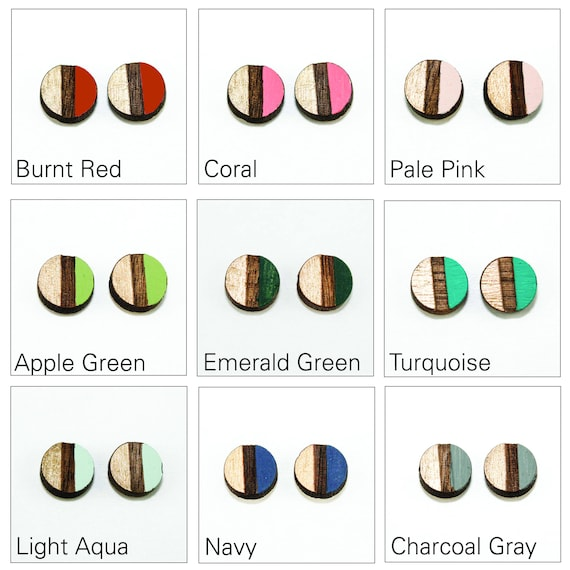 15cc5bdae Circle Stud Earrings Modern Geometric Two-Tone Laser Cut | Etsy