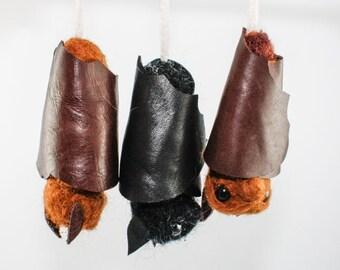 Needle Felted Bat Christmas Ornament - Quirky Fiber Art Holiday Decor
