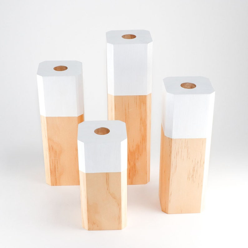 Pine Wood with White Painted Accent Scandinavian Style Wooden Candlestick Set