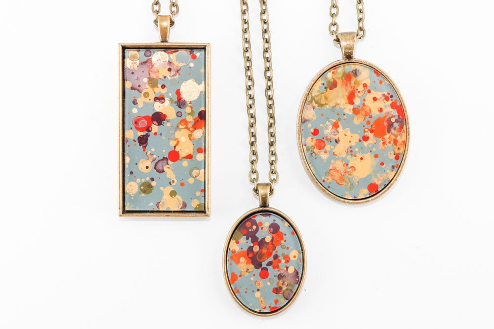 Splatter Painting Pendant Choose Your Shape Abstract Art Brass Necklace white, gold, coral, turquoise, gray Garden Party Colorway