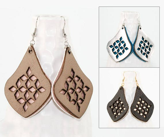 Birthday Gift Gifts under 25 Anniversary Gifts for Her Amy Copper Earrings Handmade Leather Earrings