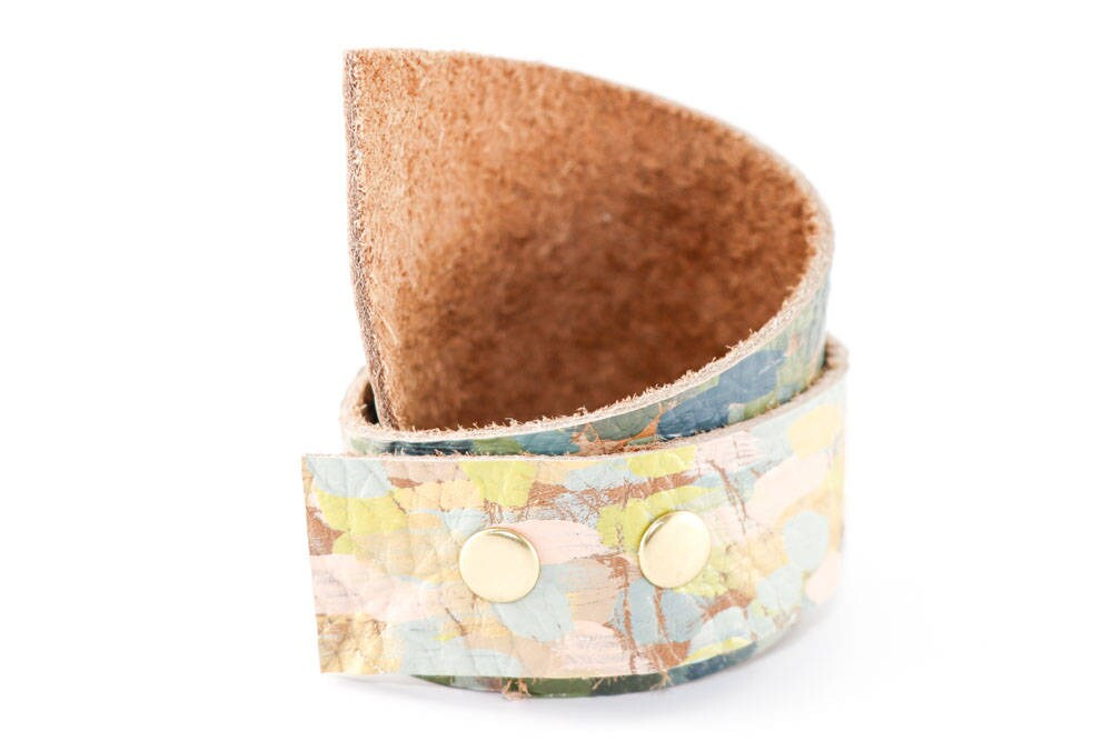 6fcb000082bd Painted Leather Cuff Bracelet - Asymmetrical Wrap Bracelet (olive, slate,  pink, gold, lime, pale blue) Size Small