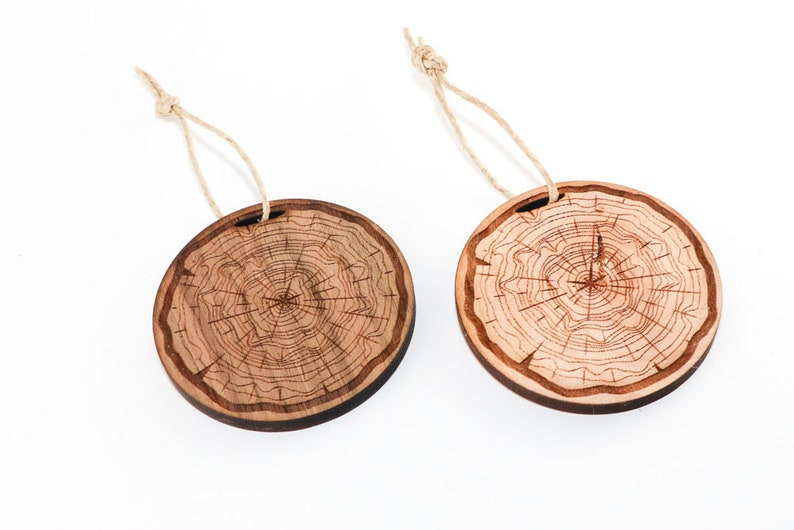 Tree Cross Section Design Tree Rings - Personalized Gift Wood Christmas Ornament
