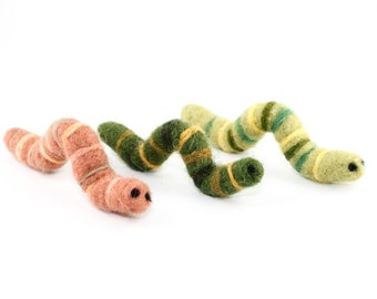 Needle Felted Caterpillar or Worm - Soft Handmade Garden Insects (choose pink worm, dark green caterpillar, or light green caterpillar)